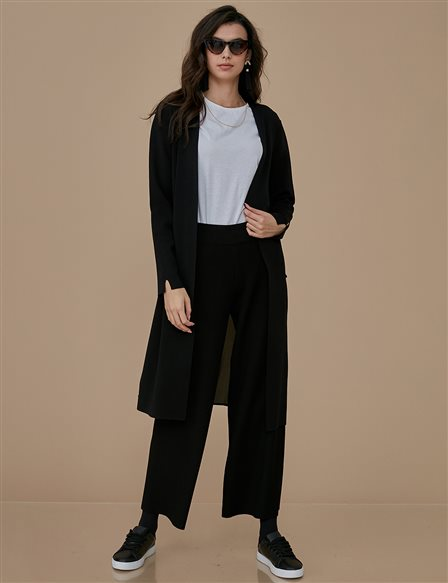 Chiffon Detailed Knitwear Cardigan A9 TRK32 Black