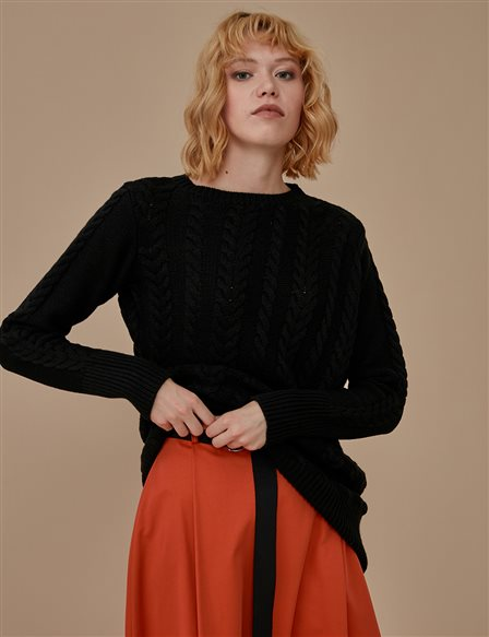Slit Knitwear Jumper A9 TRK42 Black