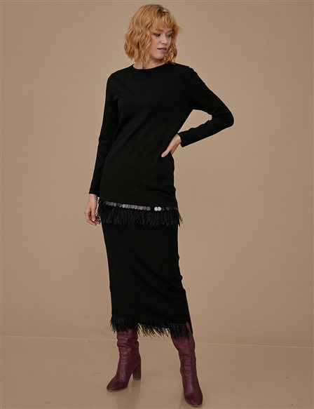Pile Detailed Knitwear Tunic A9 TRK21 Black
