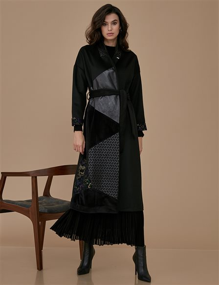 Patchwork Coat Black A9 25040