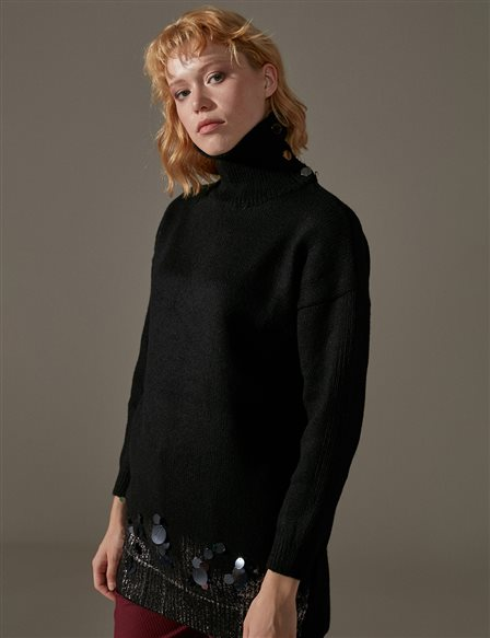 Knitwear Jumper With Sequin A9 TRK31 Black