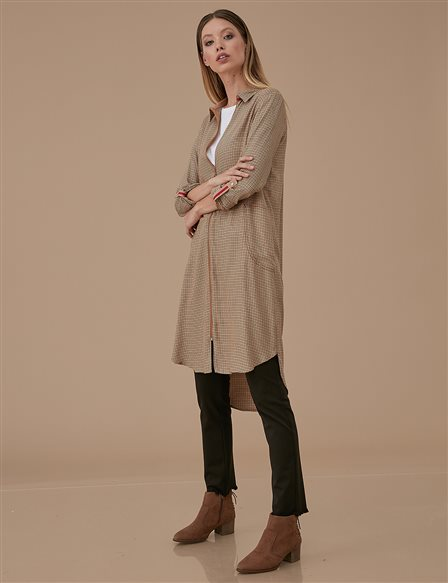 KYR Checkered Tunic With Zipper Camel A9 81039