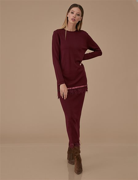 Pile Detailed Knitwear Tunic A9 TRK21 Burgundy