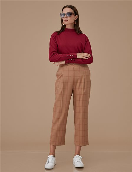 Plaid Pants A9 19106 Beige