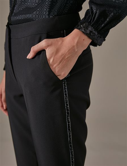 KYR Pants With Velvet Detail A9 79004 Black