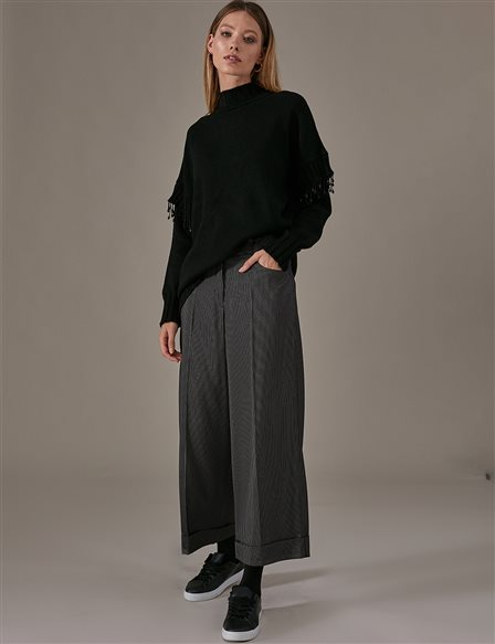 KYR Striped Sateen Pants A9 79013 Black