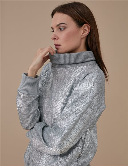 Roll Neck Blouse A9 10017 Grey