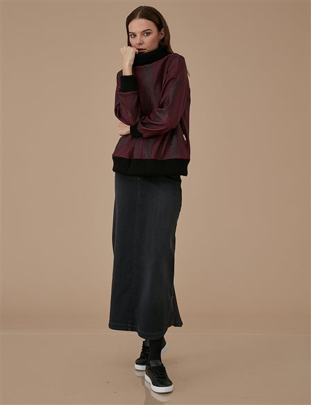 Roll Neck Blouse A9 10017 Burgundy