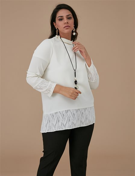 Blouse With Necklace A9 10032 Ecru