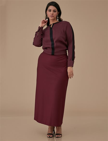Basic Oversize Skirt A9 12038 Burgundy