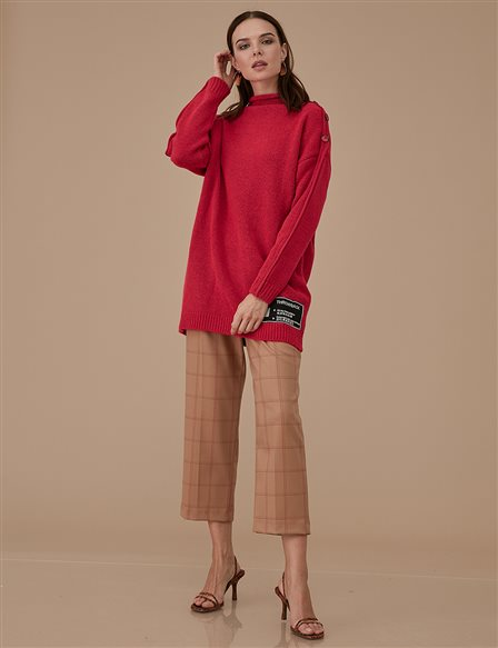 Knitwear With Button Detail A9 TRK17 Red
