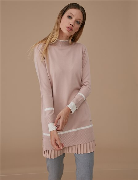 Chiffon Pleated Knitwear Tunic A9 TRK22 Powder