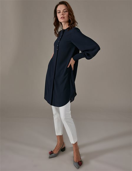 KYR Mini Button Detailed Tunic A9 81047 Navy