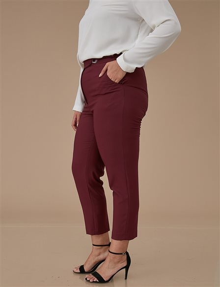 Detailed Skinny Leg Oversize Pants A9 19046 Burgundy