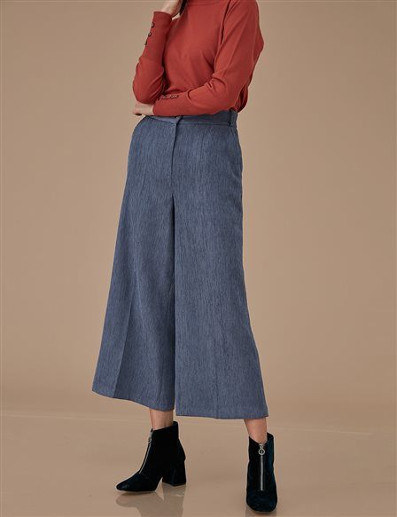 Velvet Wide Leg Pants A9 19105 Blue