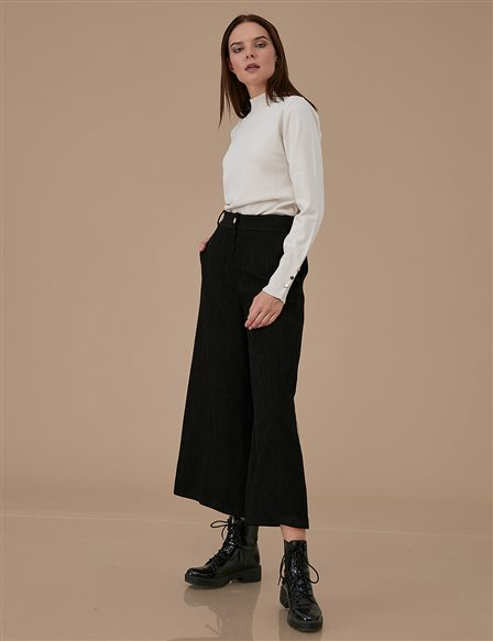 Velvet Wide Leg Pants A9 19105 Black