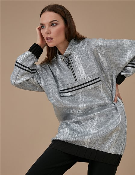 Ruched Collar Sweatshirt A9 21107 Grey