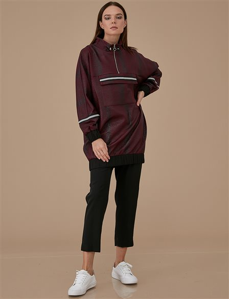 Ruched Collar Sweatshirt A9 21107 Burgundy