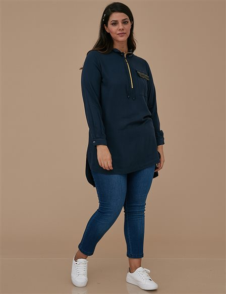 Zipper Collar Tunic A9 21118 Navy