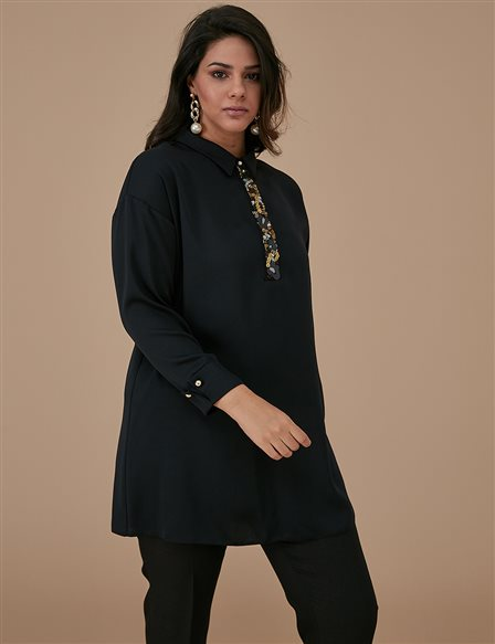 Sequin Detailed Tunic A9 21122 Black