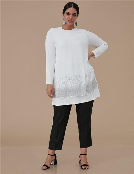 Chiffon Combed Cotton Tunic A9 21175 Ecru