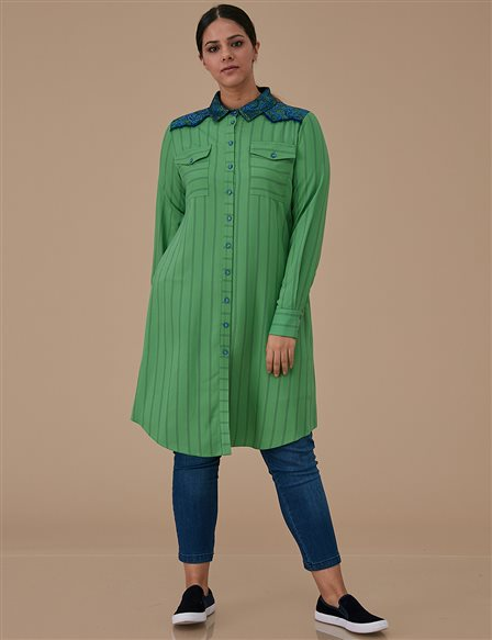 Lace Detailed Tunic A9 21209 Green