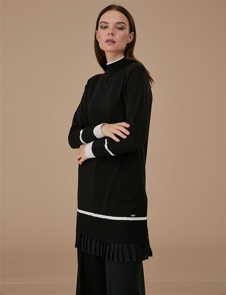 Chiffon Pleated Knitwear Tunic A9 TRK22 Black