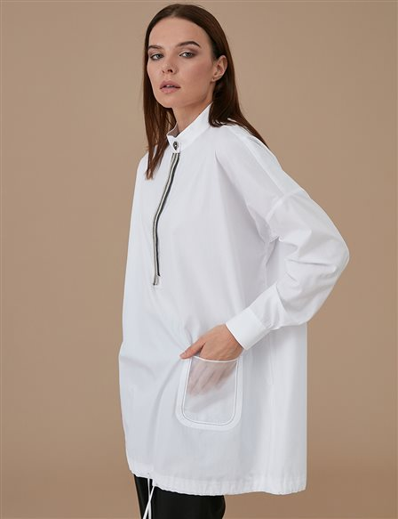 Ruched Grandad Collar Tunic A9 21220 White