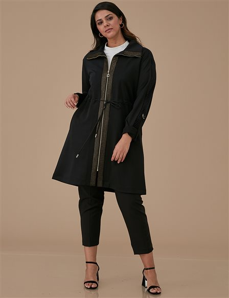 Oversize Coat With Zipper A9 25031 Black