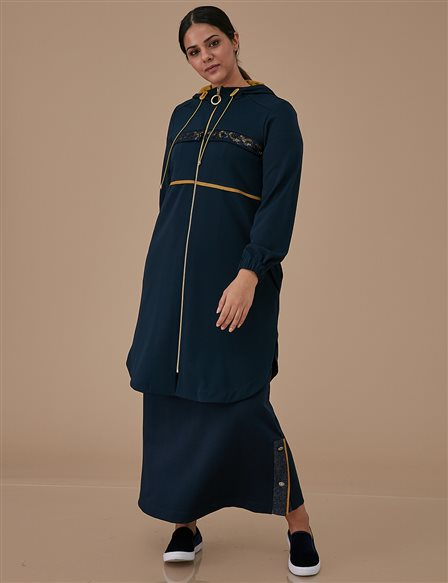Sequin Tunic With Zipper A9 25066 Navy