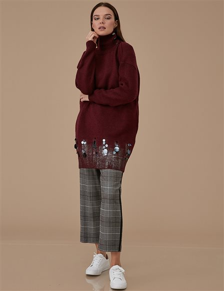Knitwear Jumper With Sequin A9 TRK3 Burgundy