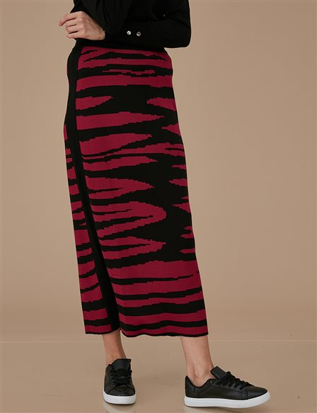 Patterned Knitwear Skirt A9 TRK48 Burgundy