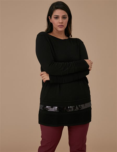 Sequin Detailed Tunic A9 TRK50 Black