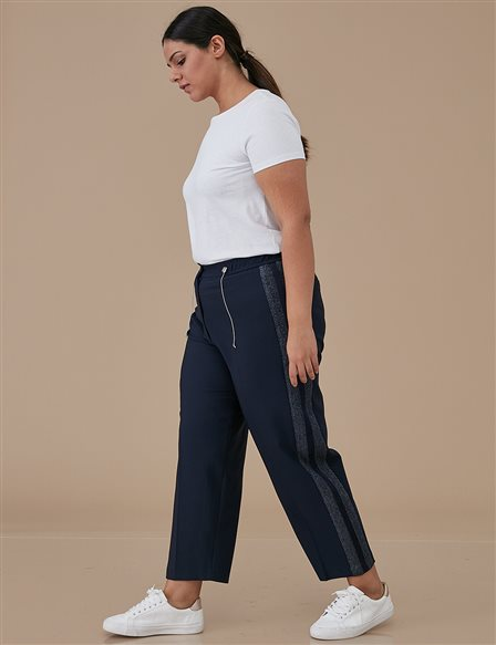 Striped Oversize Pants A9 19043 Navy