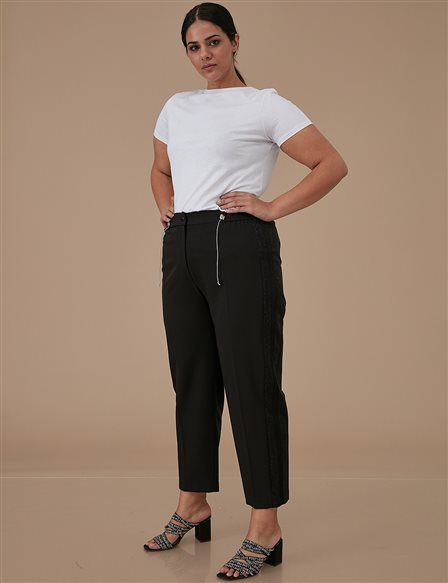 Striped Oversize Pants A9 19043 Black