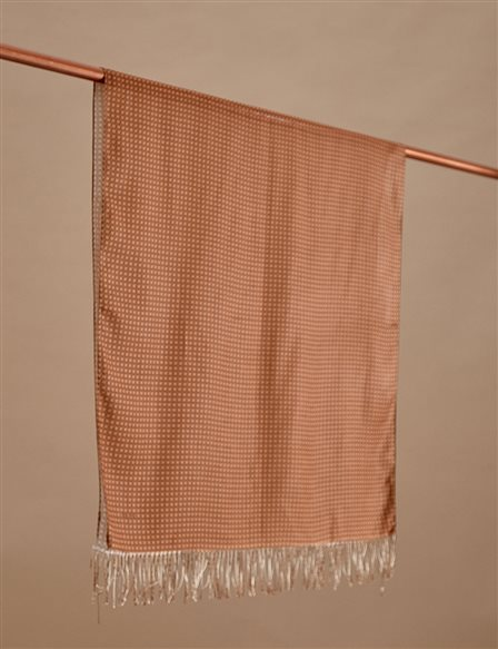 Cotton Monogram Shawl SZ-SAL02 Camel
