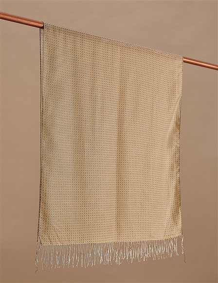 Cotton Monogram Shawl SZ-SAL02 Beige