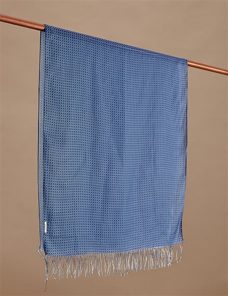 Cotton Monogram Shawl SZ-SAL02 Blue