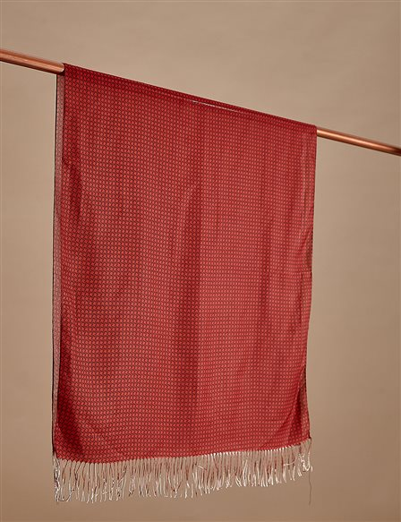 Cotton Monogram Shawl SZ-SAL02 Red