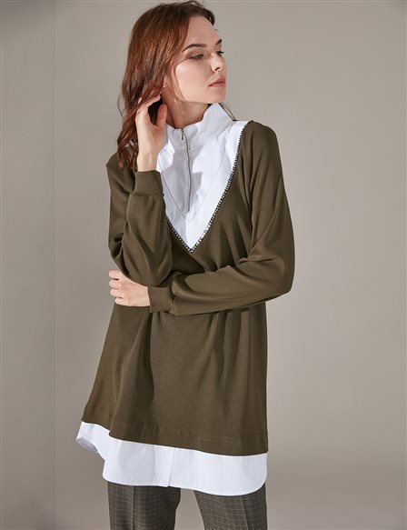 KYR Double Detailed Tunic A9 81036 Khaki