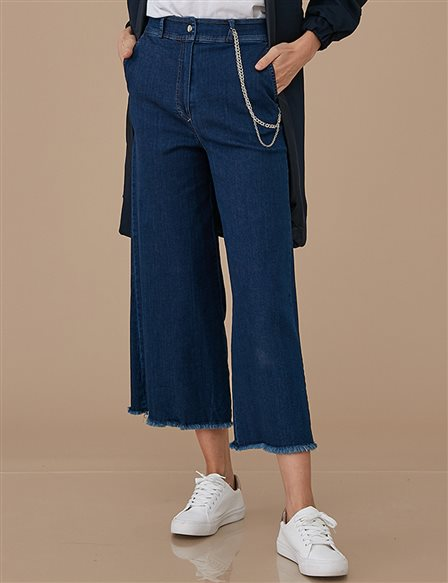 Chain Detailed Wide Leg Jean A9 19062