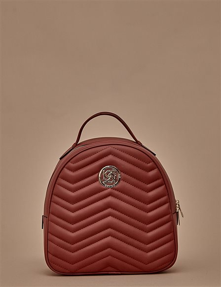 Quilted Backpack A9 CNT01 Burgundy