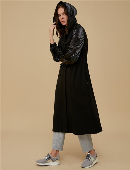 Embroidered Coat A9 14049 Black