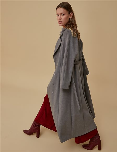 Coat With Belt Detail A9 17037 Grey