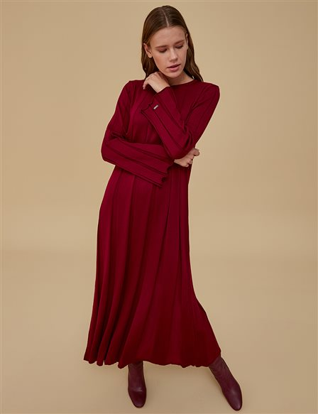 Knitwear Dress A9 TRK43 Burgundy