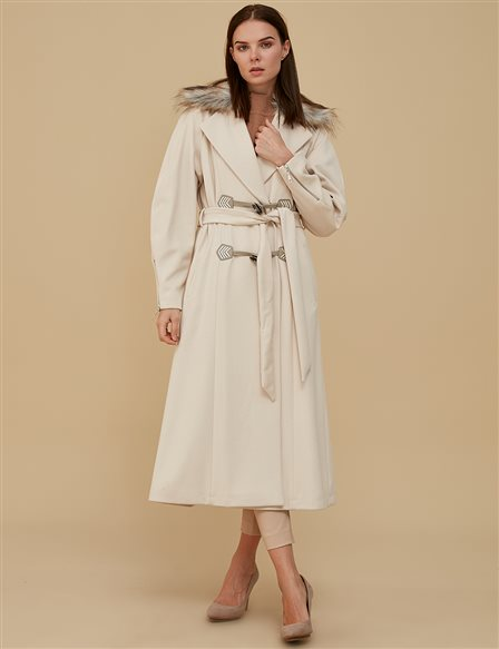 Zipper Detailed Coat A9 17013 Cream