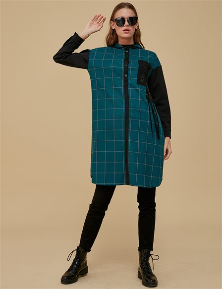Checkered Tunic With Hood A9 21146 Petrol