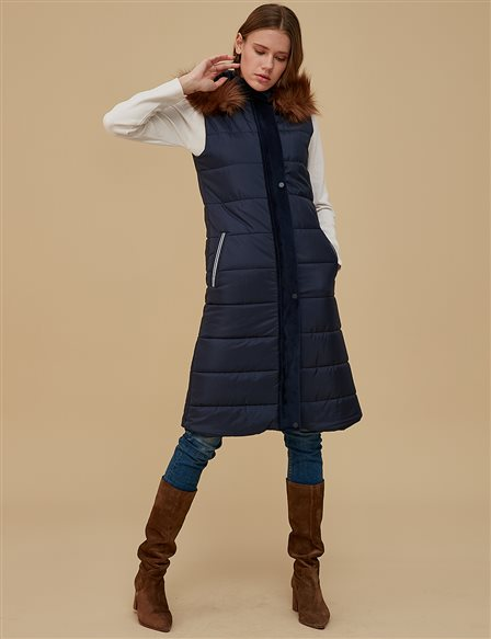 Furry Down Vest A9 10033 Navy