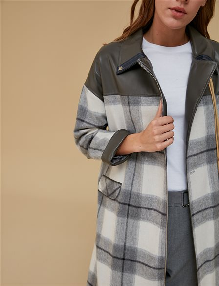 Leather Detailed Coat A9 17034 Grey