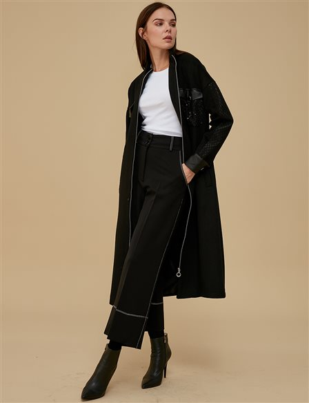 Three Quarter Sleeve Coat A9 17053 Black